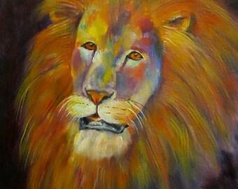 "Lion wildlife cat animal original art oil painting on 8"" x 10"" canvas by Sandra Cutrer Fine Art SFA"