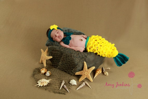 Newborn Crochet Mermaid Tail - Bright Yellow With Turquoise Accent - Made To Order - Photography Prop