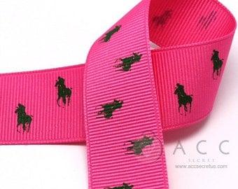 5Yards 25mm(1'') Hot Pink/Green Riding Horse Print Grosgrain Ribbon