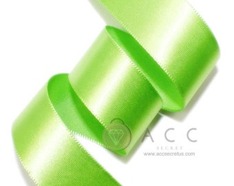 Yellow Green Single Faced Satin Ribbon - 5mm(2/8''), 10mm(3/8''), 15mm(5/8''), 25mm(1''), 40mm(1 1/2''), and 50mm(2'')