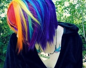 RAINBOW MAGIC wig // Red Purple Blue Yellow Pink Orange -- Scene Punk Hair