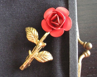 Lovely Vintage Red Rose Pin, Brooch, 1950s