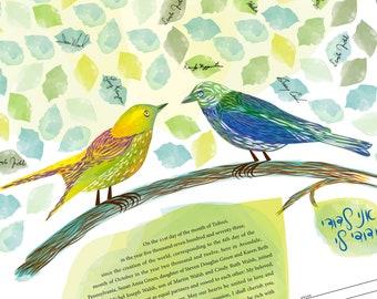 Signing Tree - Love Birds, Ketubah, Quaker, Vows