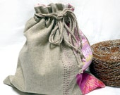 Knitting project bags- Sock Bag -Drawstring - sb571 - pink and linen patch