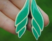 Blueish Green Leave Earrings, Handsculpted and Painted on Both Sides (ready to ship)