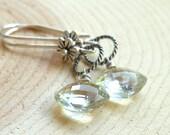 Prasioilte Earrings, Green Amethyst Sterling Silver, Dangling from flowers, diamond briolettes