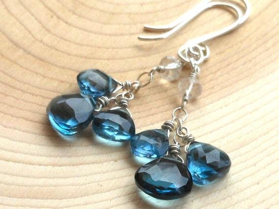 London Blue Topaz Earrings Sterling Silver Long dangling ocean blue gemstones clusters