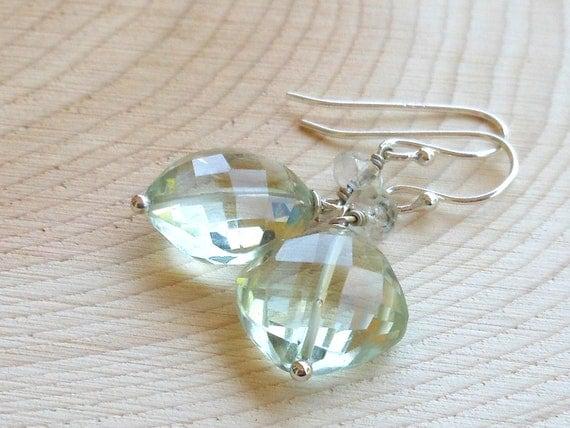 Prasiolite Earrings Sterling Silver Dangling Green Amethyst Gemstone Earrings