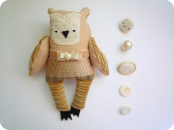 Lisa Little  Owl, soft art toy by Wassupbrothers