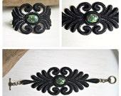 Acacia lace bracelet with green millefiori design