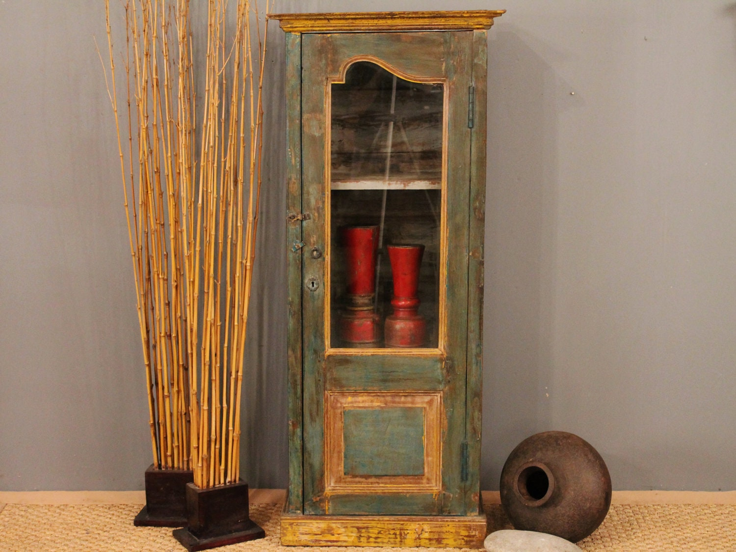 Sale Vintage Cabinet Curio Tall Distressed Green Single Door