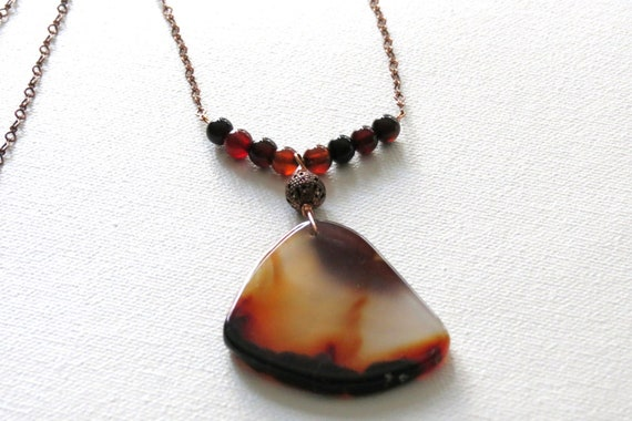 Spring SALE necklace: Black and Copper Agate long Necklace - Birthday, Anniversary, Mother's Day, Graduation