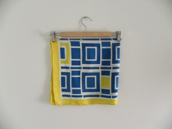 Vintage Vera 1970s Yellow Blue and White Square Geometric Scarf