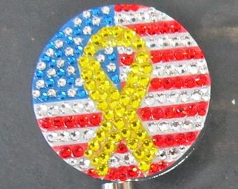 Yellow ribbon on US flag, rhinestone ID badge reel