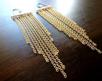 CORINTHIA-Long Chain Tassels with 14K Gold Filled Shepherd Hook Stamped Earrings
