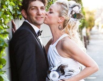 Feather Bridal Fascinator, Bridal Fascinator, Fascinator, Hair Clip, Bridal Headpiece, Wedding Veil, Bridal Veil- Rock On x 2