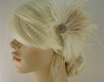 Wedding Bridal Fascinator, Bridal Fascinator, Feather Fascinator , Wedding Veil, Bridal Headpiece - The Couture Bride - Rhinestones