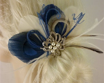 Bridal Feather Fascinator with Brooch, Bridal Fascinator, Wedding Hair Accessories, Fascinator, Hair Clip, Ivory and Blue