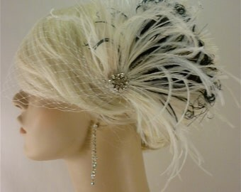 Bridal Feather Fascinator, Bridal Fascinator, Bridal Headpiece, Bridal Hair Accessories, Bridal Veil, Ivory and Black