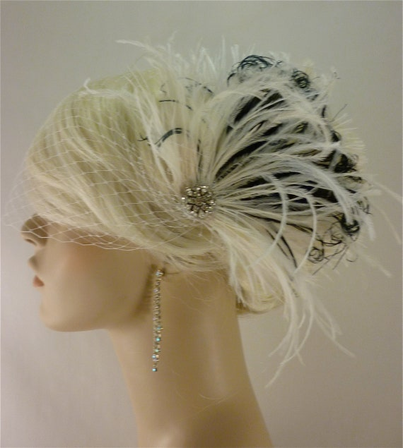 Bridal Feather Fascinator, Bridal Fascinator, Bridal Headpiece, Bridal Hair Accessories, Bridal Veil, Ivory and Black