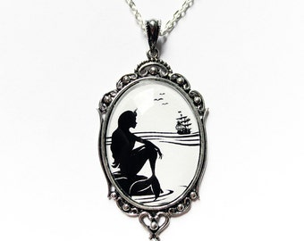 Part of Your World --Silhouette Necklace Large Wearable Art Cameo Necklace Pendants mermaid necklace-Christmas gift