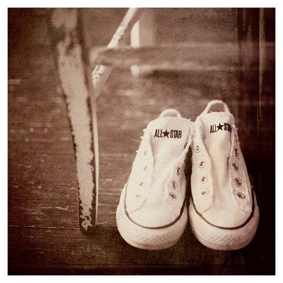 Feels Like Saturday, photography print, vintage look,converse, white, red, 5x5 fine art print, fun, room decor, bedroom, teen