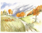 """Deserted Pumpkin Patch, Print of Watercolor Painting, 8""""x10"""""""