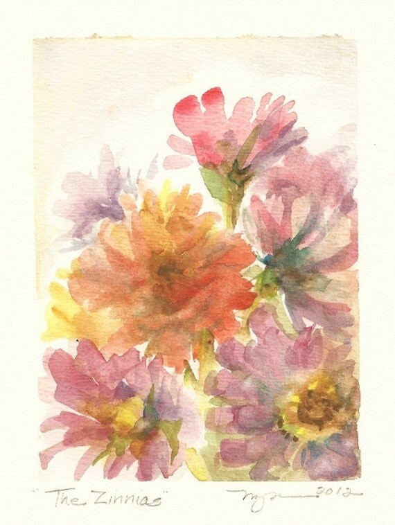 """The Zinnias, small original watercolor painting 4""""x6"""", in pink, orange, and violet"""