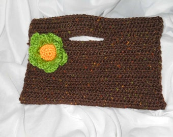 Crocheted Clutch with Flower Accent