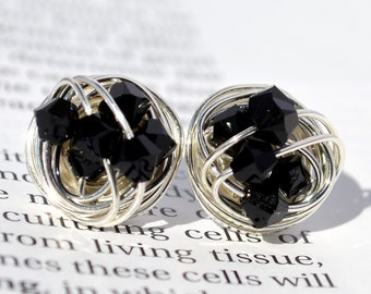 Jet Black and Silver - The Classic Series- Swarovski crystal bead Wire Wrapped Stud Earrings