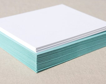 Blank Set of Cards with Aqua Envelopes - Set of 20 Flat A2 Size Cards