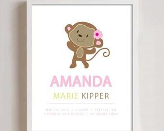 Personalized birth print - Monkey 8x10
