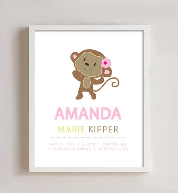Personalized birth print - Monkey 8x10