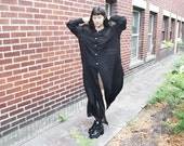 vintage womens 90s GOTH GRUNGE sheer black collared maxi oversized DUSTER