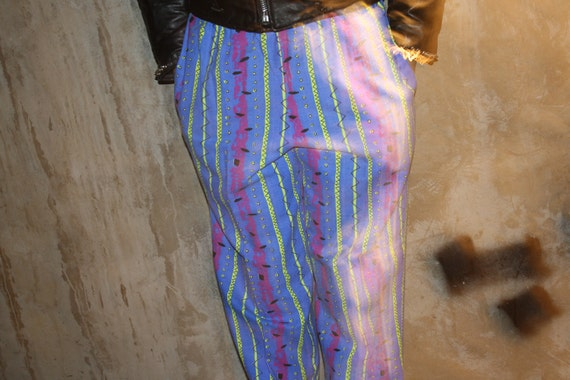 vintage 80s / 90s GRUNGE blue and green ABSTRACT print cotton pants size M