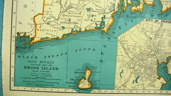 Rhode Island and South Carolina Vintage 1940s Atlas Map Illustration - Turquoise Map