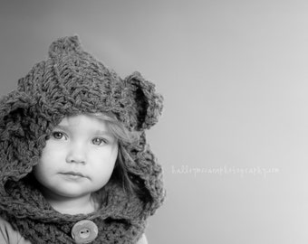 Bear Cowl Hat and neckwarmer- made to order