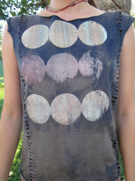 Upcycled T Shirt- Shredded- Cut- Woven-Hippie- Festival- Full Moon Screenprint
