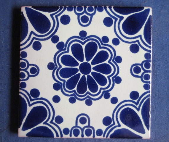 1 Square Blue And White Mexican Talavera Ceramic Tile 4 By 4