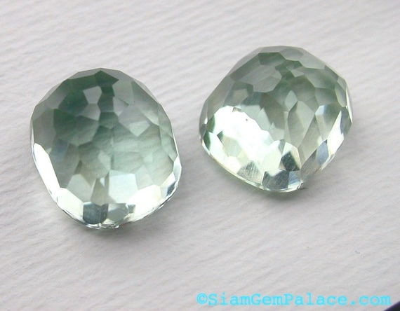 PRASIOLITE GREEN Amethyst. Cushion Shape High Dome  Micro Facet Cabochons. GLOWiNG. 2 pc. 13.20cts. 10x12mm (AM469)