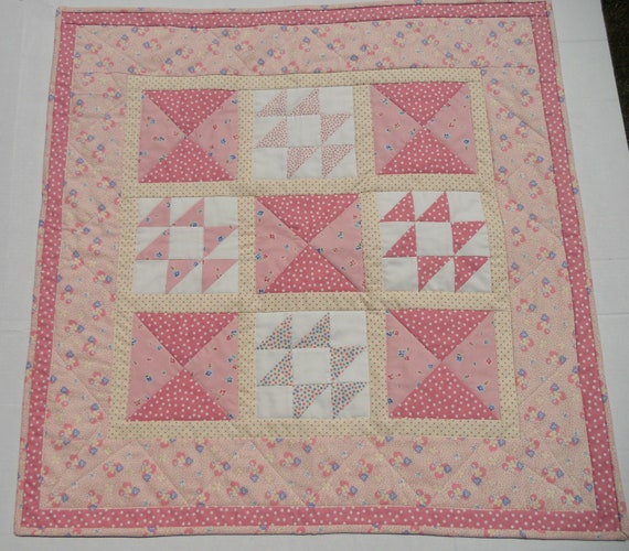 Handmade Patchwork Baby Girl Quilt or Table Topper