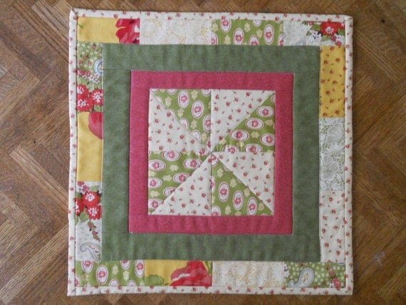 Patchwork Pinwheel Fall Harvest Quilted Table Topper