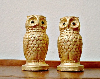 Vintage Owl Shakers Salt and Pepper Metal Tancraft Gold Color