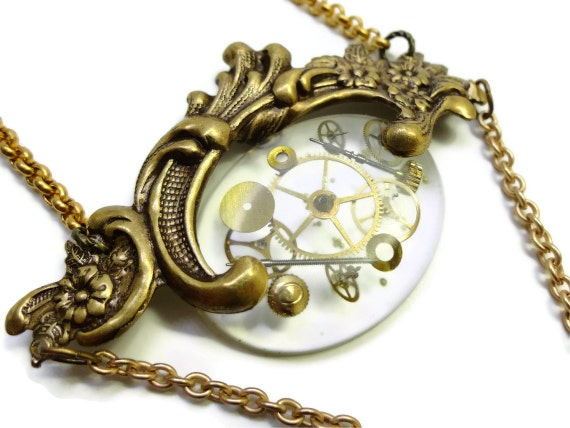 Steampunk Necklace Hovercraft in Filigree by Dr Brassy Steampunk