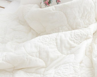wide duplex rose quilted cotton (width 78 inches) 1yard 39637 unbleached white