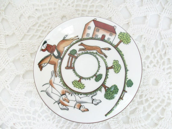 Hunt Scene Staffordshire Round Jewelry Box & Lid The Chase