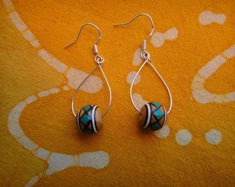 Peruvian Geometric Pattern Ceramic Bead Teardrop Earrings