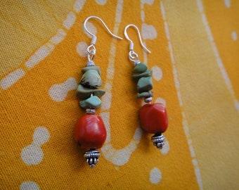 Red Coral and Turquoise Beaded Earrings