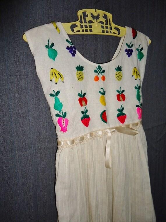 Embroidered FRUIT Vintage 1970's BOHO Gauzy Girls Dress