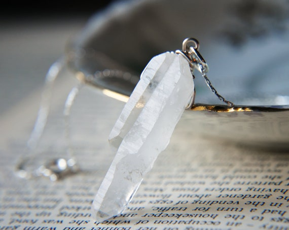 """White Quartz Crystal Necklace - Wire Wrapped - Silver Plated - 18"""" long - Points - Ice Queen - One of a kind"""